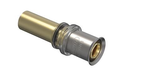Wavin Tigris M5 fitting met 2 aansluitingen 1-delig, lengte 59mm, recht, uitwendige buisdiameter aansluiting 20mm, aansluiting 1 messing, uitwendige buisdiameter aansluiting 22mm, aansluiting 1 persmof, nom. diameter aansluiting 1 DN 20, nom. diameter aansluiting 2 DN 15, aansluiting 2 verjongspie,