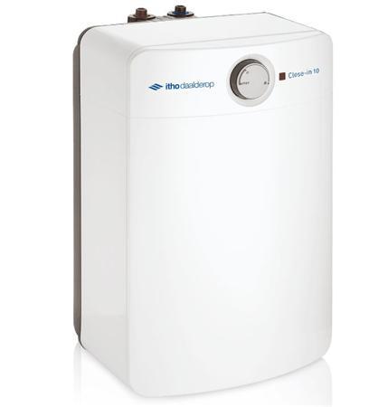 Itho Daalderop Close-in boiler elektrisch onderbouw, energie-efficientieklasse A, boilervat koper, mantel kunststof, tankinhoud 10L, nom. vermogen 2.2kW, aansluitspanning 230 - 230V, frequentie 50Hz, toepasbaar bij normale waterdruk, opwarmtijd van 10 grC - 65 grC 17min, plaatsing verticaal,