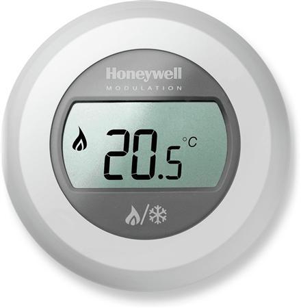 Honeywell Home Round ruimtethermostaat opentherm, breedte 83mm, 2-draads, koelen, met display, type contact maakcontact, temperatuur afleesbaar, beschermingsgraad (IP) IP30, type opnemer overig, max. spanning contacten 24V, bediening draai, regelkarakteristiek overig, differentiewaarde 0.5K, 5..35 gradenBekijk alle warmte afgifte