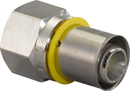 Uponor GAS Press fitting met 2 aansluitingen, recht, uitwendige buisdiameter aansluiting 32mm, aansluiting 1 messing, aansluiting 1 persmof, nom. diameter aansluiting 2 1
