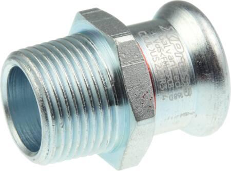Vsh XPRESS STAALVERZINKT C1405 fitting met 2 aansluitingen 1-delig, lengte 39mm, recht, uitwendige buisdiameter aansluiting 15mm, aansluiting 1 staal, uitwendige buisdiameter aansluiting 21.3mm, aansluiting 1 persmof, nom. diameter aansluiting 1 DN 12, nom. diameter aansluiting 2 1/2