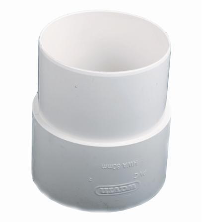 Wavin HWA fitting hemelwaterafvoerbuis, polyvinylchloride (PVC), wit, uitvoering trompstuk/verbindingsstuk, hemelwaterafvoer, uitvoering einden mof/verjongd spie-eind, rond, aansluitmaat (mm) 80mm