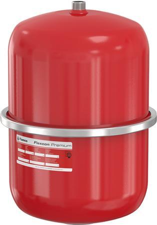 Flamco Flexcon Premium membraandrukexpansievat, rood, diameter 286mm, hoogte 405mm, inhoud 18L, voordruk 1bar, einddruk 3bar, nom. binnendiameter expansie-aanslu 3/4