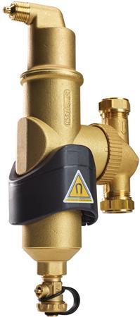 Spirotech SpiroCombi lucht-/vuilafscheider v cv/koeling, messing, uitwendige buisdiameter 22mm, inbouwmaat 112mm, soort afscheider lucht/vuil, nom. binnendiameter overig, knelring, uitvoering horizontaal/verticaal, werkingsprincipe wervel. magneet, geschikt voor koeling, met automatische ontluchter, R1/2 (M) lucht G3/4 (M) vuil,Bekijk alle installatiemateriaal verwarmingBekijk alle appendages