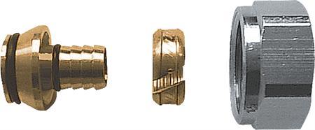 Herz 6098 knelringset, uitwendige buisdiameter 16mm, draadaansluiting binnendraad, knelring messing, kwaliteitsklasse messing ontzinkingsarm, draadmaat moer 3/4