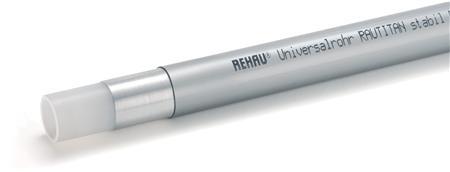 Rehau RAUTITAN Stabil meerlagenbuis glad, uitwendige buisdiameter 25mm, wanddikte 3.7mm, buis grijs, handelslengte 5m, KIWA-keur, mantel transparant, diffusiestop, flexibel, tussenlaag aluminium, 3 lagen, expansiecoefficient 0.03mm/(m.K), KOMO-keur, kwaliteitsklasse binnenlaag PE-Xa,