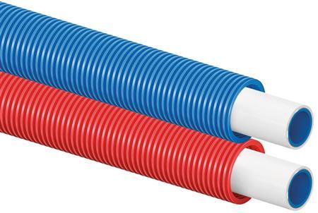 Uponor Uni Pipe PLUS meerlagenbuis glad, uitwendige buisdiameter 16mm, wanddikte 2mm, met mantelbuis, nom. binnendiameter DN 12, buis wit, KIWA-keur, mantel blauw, uitwendige diameter mantelbuis 25mm, flexibel, max. mediumtemperatuur (continu) 70C, kwaliteitsklasse buitenlaag PE-RT II,Bekijk alle buis en fittingen